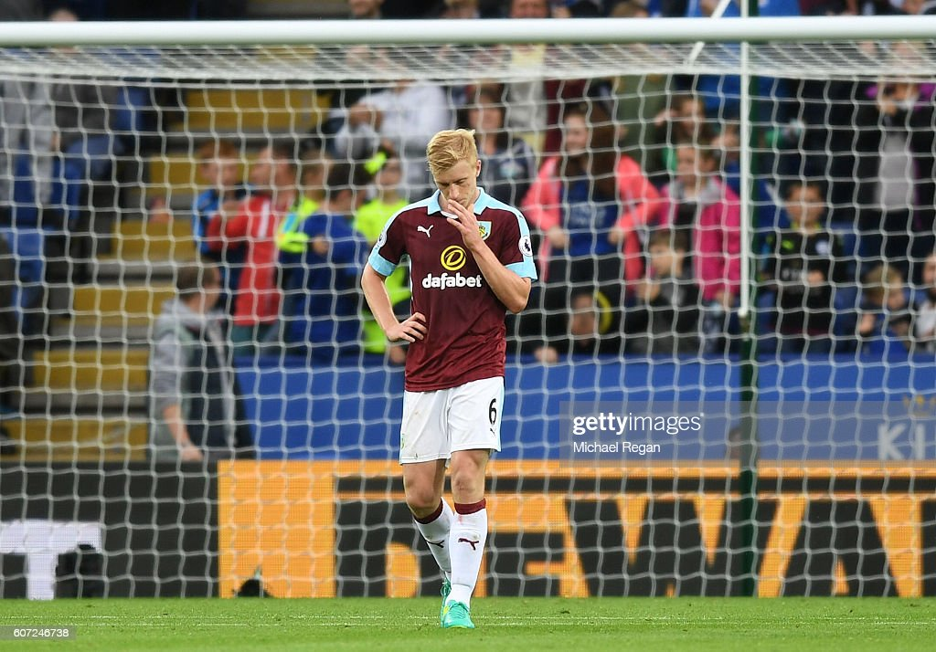 Ben Mee of Burnley shows defection after scoring a own goal during the Premier League match between Leicester City and Burnley at The King Power Stadium on September 17, 2016 in Leicester, England.