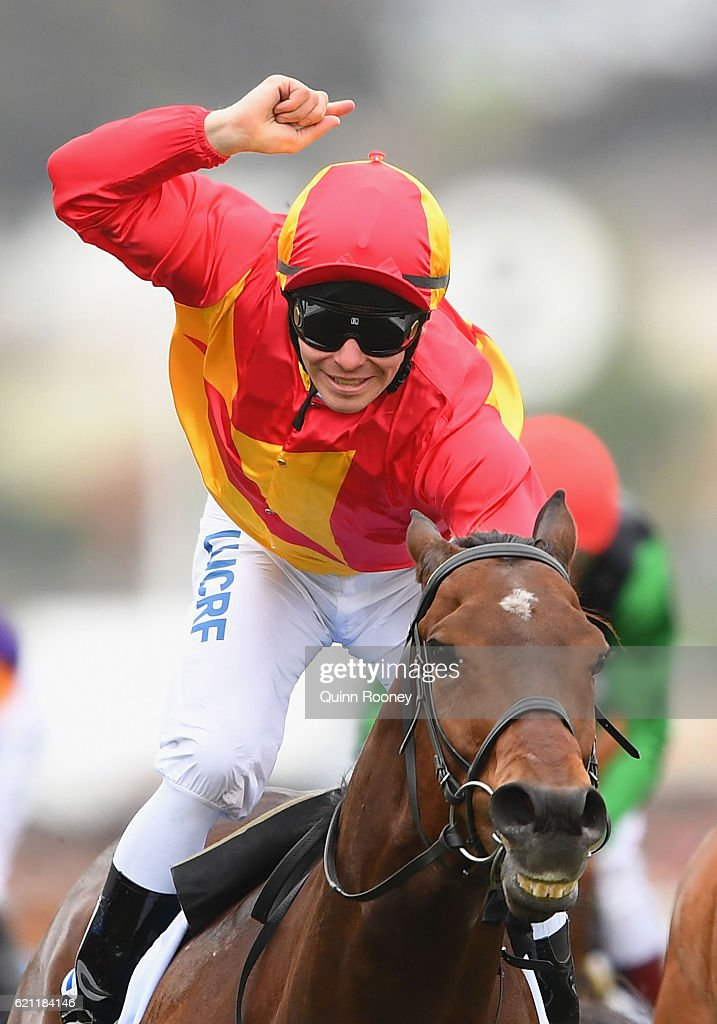 Ben Melham rides Malaguerra to win race 8, the Darley Classic on Stakes Day at Flemington Racecourse on November 5, 2016 in Melbourne, Australia.