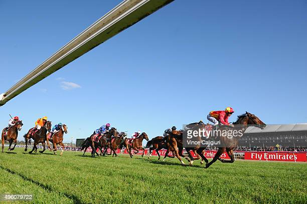 Ben Melham rides Malaguerra to win race 9 the Emirates Airline handicap on Stakes Day at Flemington Racecourse on November 7 2015 in Melbourne...