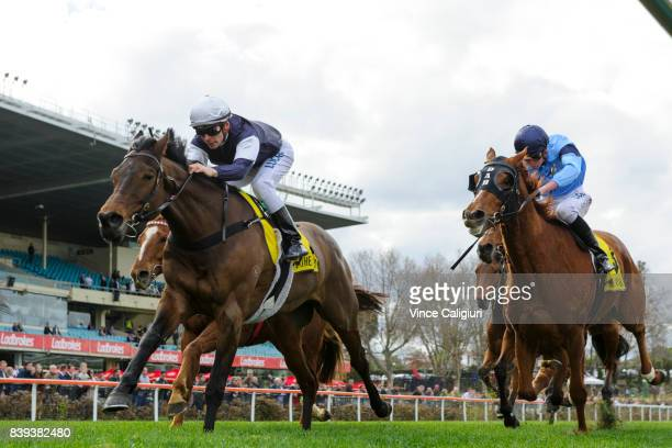 Ben Melham riding Almandin finishing runner up in Race 5 during Melbourne Racing at Moonee Valley Racecourse on August 26 2017 in Melbourne Australia