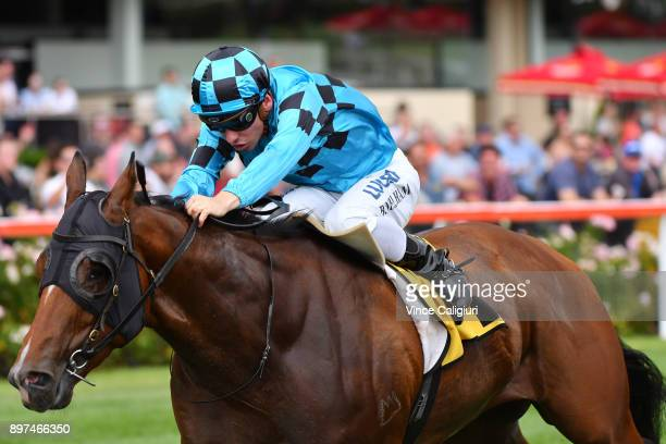 Ben Melham riding Bel Sonic wins Race 7 Vobis Gold Carat during Melbourne Racing at Moonee Valley Racecourse on December 23 2017 in Melbourne...