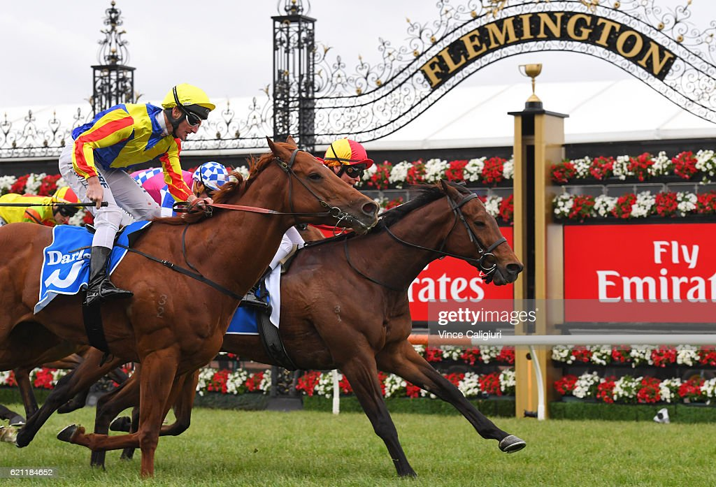Ben Melham riding Malaguerra defeats Brad Rawiller riding Speith in Race 8, Darley Classic on Stakes Day at Flemington Racecourse on November 5, 2016 in Melbourne, Australia.