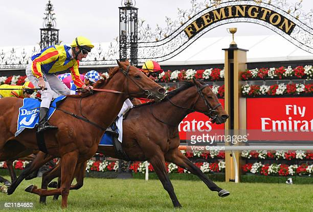 Ben Melham riding Malaguerra defeats Brad Rawiller riding Speith in Race 8 Darley Classic on Stakes Day at Flemington Racecourse on November 5 2016...