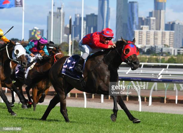 Ben Melham riding Usain Bowler wins Race 9 during Melbourne Racing at Flemington Racecourse on December 22 2018 in Melbourne Australia