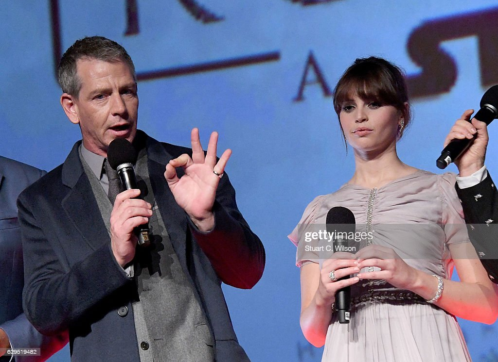 Ben Mendelsohn and Felicity Jones attend the exclusive screening of Lucasfilm's highly anticipated, first-ever, standalone Star Wars adventure 'Rogue One: A Star Wars Story' at the BFI IMAX on December 13, 2016 in London, England.