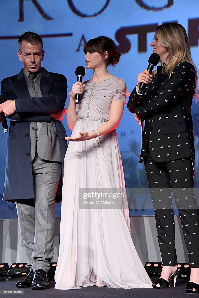 Ben Mendelsohn, Felicity Jones and Edith Bowman attend the exclusive screening of Lucasfilm's highly anticipated, first-ever, standalone Star Wars adventure 'Rogue One: A Star Wars Story' at the BFI IMAX on December 13, 2016 in London, England.