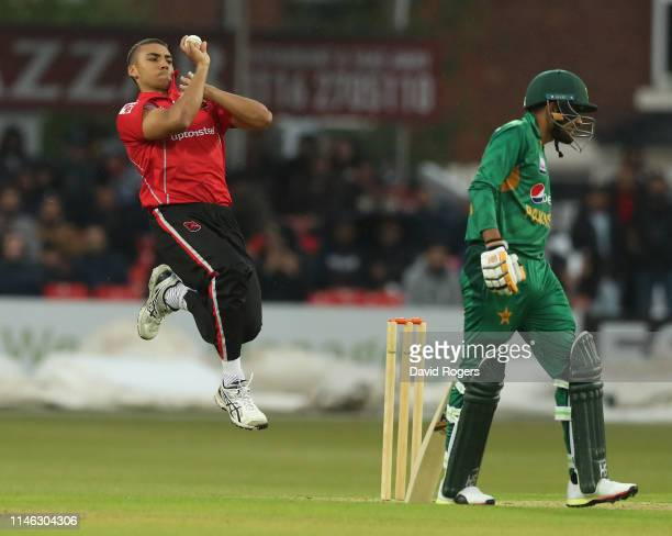 Ben Mike of Leicestershire bowls during the T20 tour match between Leicestershire and Pakistan at the Fischer County Ground on May 01, 2019 in...