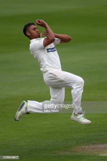 Ben Mike of Leicestershire in action on his first class debut during the Specsavers County Championship Division Two between Sussex and...