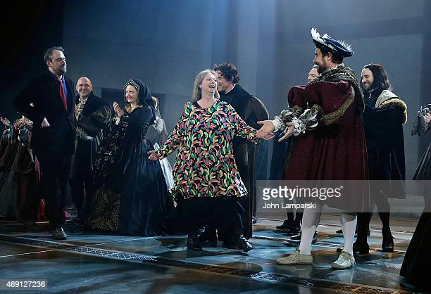 "Ben Miles, Author Hilary Mantel, Director Jeremy Herrin, Nathaniel Parker and cast perform at the ""Wolf Hall"" Opening Night curtain call at Winter..."