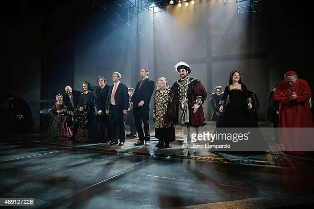 "Ben Miles, Author Hilary Mantel, Director Jeremy Herrin, Nathaniel Parker, Lydia Leonard, Nicholas Day and cast perform at the ""Wolf Hall"" Opening..."