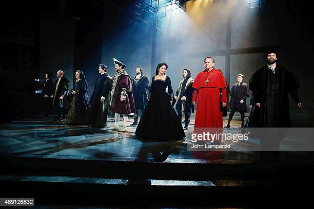 "Ben Miles, Nathaniel Parker, Lydia Leonard, Nicholas Day and cast perform at the ""Wolf Hall"" Opening Night curtain call at Winter Garden Theatre on..."