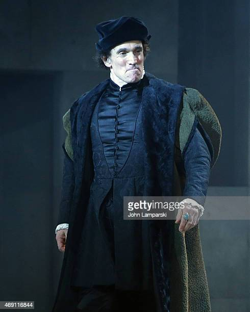 "Ben Miles performs at the ""Wolf Hall"" Opening Night curtain call at Winter Garden Theatre on April 9, 2015 in New York City."