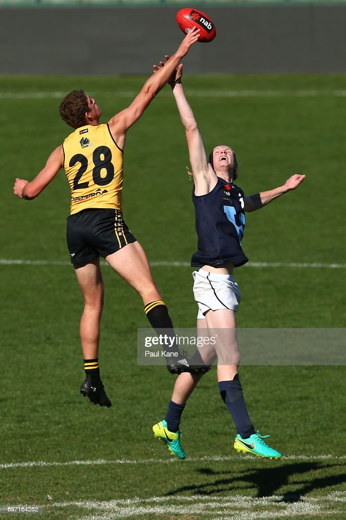 Ben Miller of Western Australia wins a ruck contest against Sam Hayes of Vic Metro during the U18 Championships match between Western Australia and Victoria Metro at Domain Stadium on June 18, 2017 in Perth, Australia.