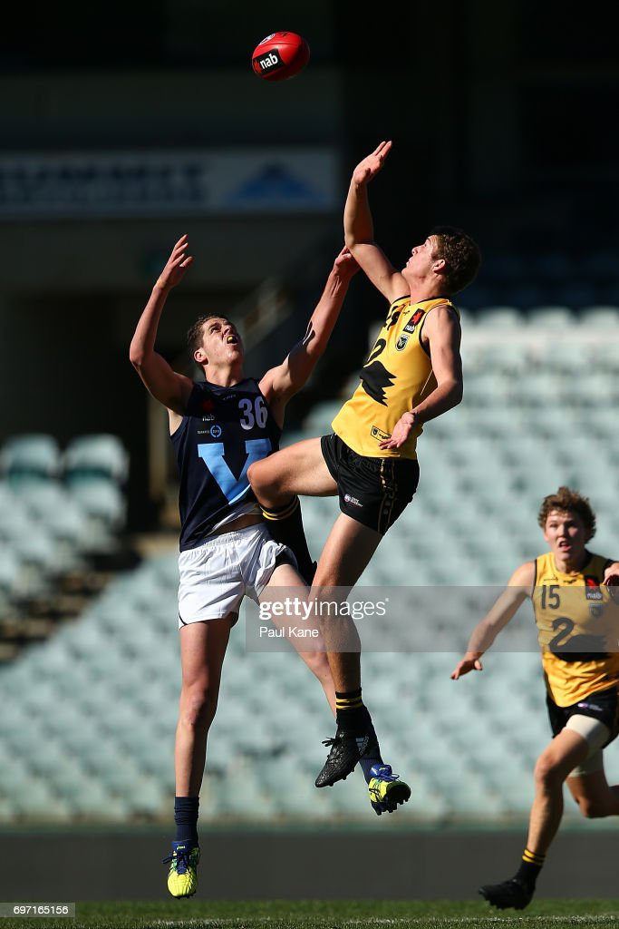 Ben Miller of Western Australia wins a ruck contest against Tristan Xerri of Vic Metro during the U18 Championships match between Western Australia and Victoria Metro at Domain Stadium on June 18, 2017 in Perth, Australia.