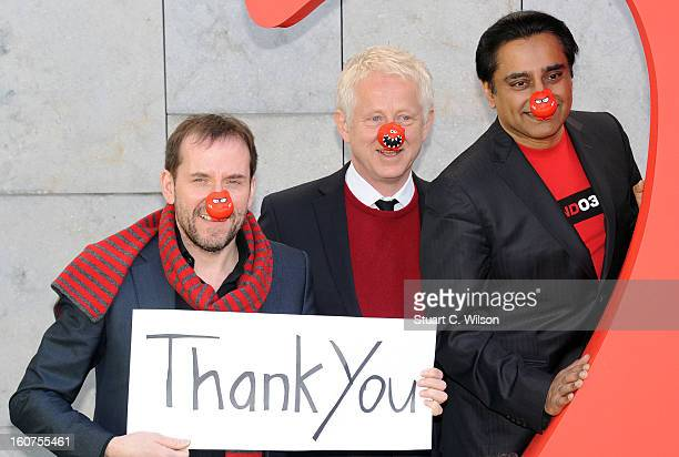 Ben Miller Richard Curtis and Sanjeev Bhaskar attend a photocall to celebrate 25 years of Red Nose Day for Comic Relief at Southbank Centre on...