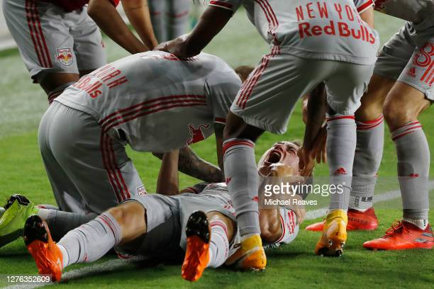 Ben Mines of New York Red Bulls celebrates with teammates after scoring a goal during the 85' against Inter Miami CF at Inter Miami CF Stadium on...