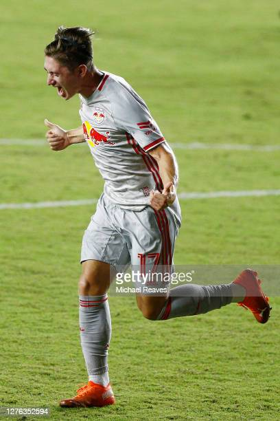 Ben Mines of New York Red Bulls reacts after scoring a goal during the 85' against Inter Miami CF at Inter Miami CF Stadium on September 23, 2020 in...