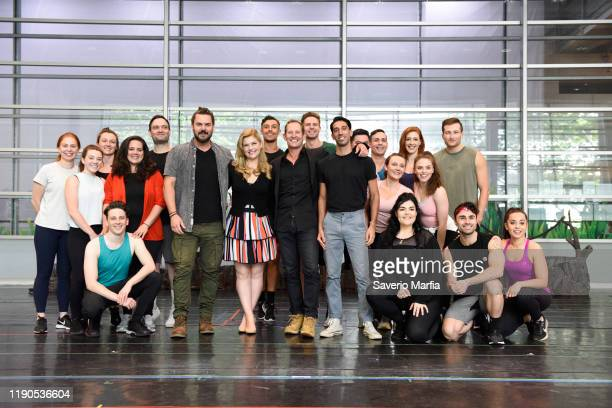 """Ben Mingay, Lucy Durack , Todd McKenney, Nat Jobe and dancers pose during """"Shrek: The Musical"""" rehearsals on November 28, 2019 in Sydney, Australia."""