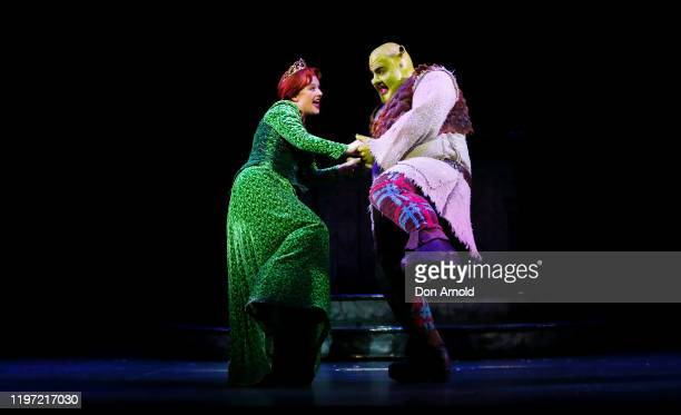 Ben Mingay plays the role of Shrek and Lucy Durack the role of Princess Fiona during a production media call for the Shrek The Musical on January 03,...