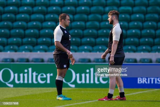 Ben Moon and team mate Alec Hepburn of England during the Captain's Run at Twickenham Stadium on November 2 2018 in London England