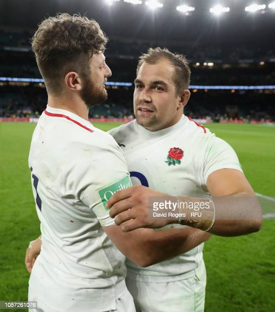 Ben Moon of England is congratulated by fellow prop and Exeter Chiefs team mate Alec Hepburn after making his international debut during the Quilter...