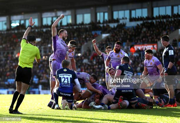 Ben Moon of Exeter Chiefs touches down for his team's fourth try during the Heineken Champions Cup Round 4 match between Exeter Chiefs and Sale...