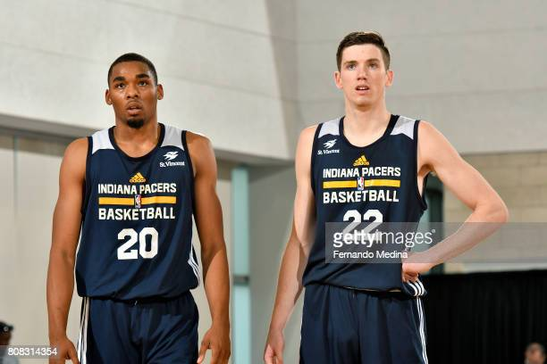 Ben Moore and TJ Leaf of the Indiana Pacers look on during the game against the Dallas Mavericks during the 2017 Orlando Summer League on July 4 2017...