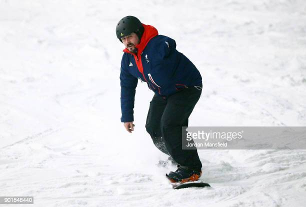 Ben Moore in action during the ParalympicsGB team announcement for PyeongChang 2018 Alpine Skiing and Snowboard Team at The Snow Centre on January 5...