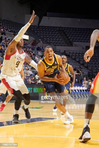 Ben Moore of the Fort Wayne Mad Ants dribbles the ball up the court against the Erie BayHawks on November 9 2018 at Memorial Coliseum in Fort Wayne...