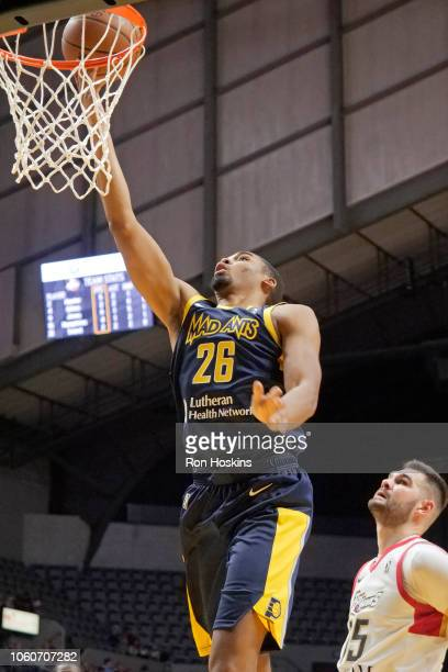 Ben Moore of the Fort Wayne Mad Ants drives to the basket against the Erie BayHawks on November 9 2018 at Memorial Coliseum in Fort Wayne Indiana...