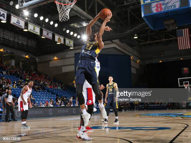 Ben Moore of the Fort Wayne Mad Ants drives to the basket against the Delaware 87ers during a GLeague at the Bob Carpenter Center in Newark Delaware...
