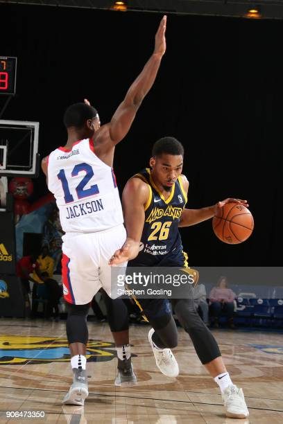 Ben Moore of the Fort Wayne Mad Ants handles the ball against the Delaware 87ers during a GLeague at the Bob Carpenter Center in Newark Delaware on...