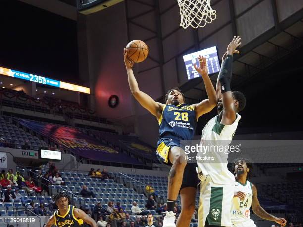 Ben Moore of the Fort Wayne Mad Ants shoots the ball against Brandon McCoy of the Wisconsin Herd on December 16 2019 at Memorial Coliseum in Fort...