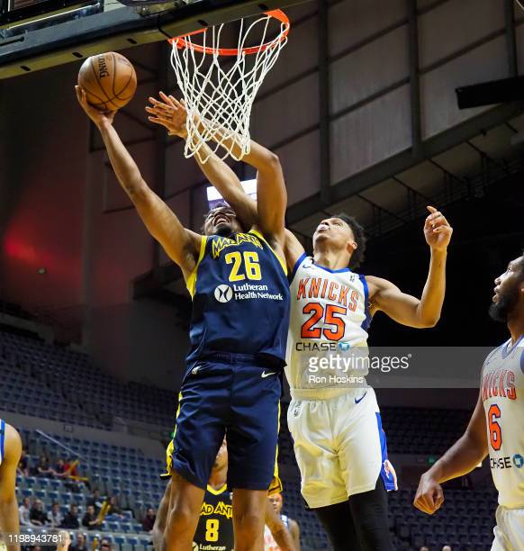 Ben Moore of the Fort Wayne Mad Ants shoots the ball against the Westchester Knicks on February 6 2020 at Memorial Coliseum in Fort Wayne Indiana...