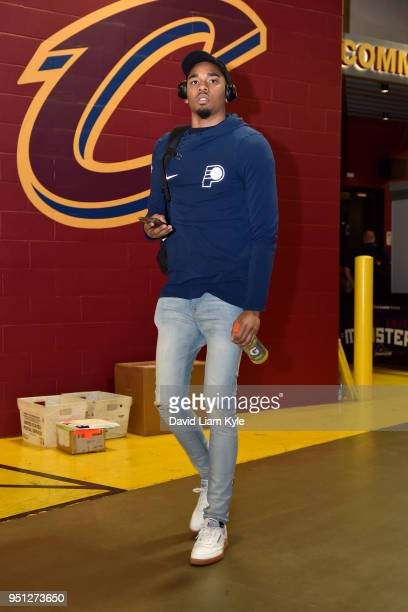 Ben Moore of the Indiana Pacers arrivrs a the stadium before the game against the Cleveland Cavaliers in Game Five of Round One of the 2018 NBA...