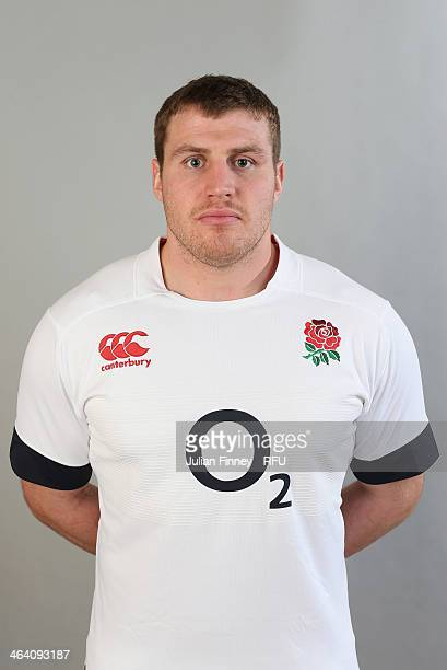 Ben Morgan of England poses for a portrait during the England Six Nations Squad Photo Call at the Penny Hill Hotel on January 20 2014 in Bagshot...