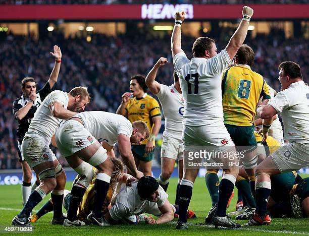 Ben Morgan of England scores his team's second try during the QBE international match between England and Australia at Twickenham Stadium on November...