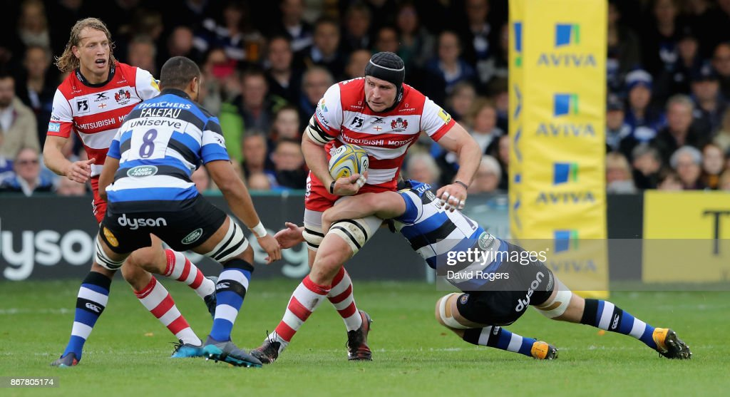 Ben Morgan of Gloucester charges upfield during the Aviva Premiership match between Bath Rugby and Gloucester Rugby at the Recreation Ground on October 29, 2017 in Bath, England.