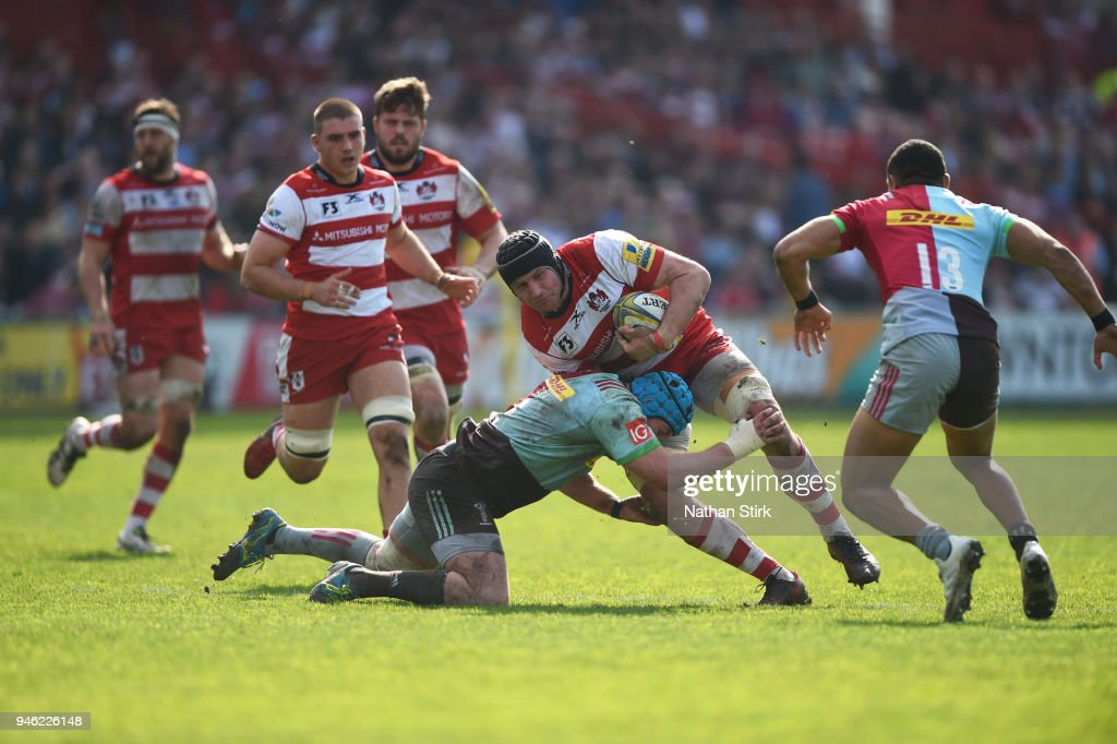 Ben Morgan of Gloucester in action during the Aviva Premiership match between Gloucester Rugby and Harlequins at Kingsholm Stadium on April 14, 2018 in Gloucester, England.