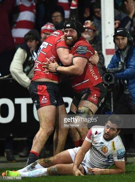 Ben Morgan of Gloucester Rugby celebrates scoring a try during the Gallagher Premiership Rugby match between Gloucester Rugby and Exeter Chiefs at...