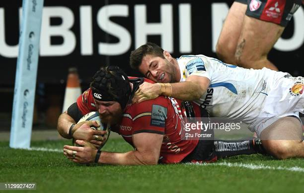 Ben Morgan of Gloucester scores a try during the Gallagher Premiership Rugby match between Gloucester Rugby and Exeter Chiefs at Kingsholm Stadium on...