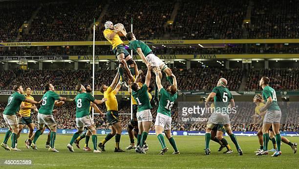Ben Mowen of the Wallabies wins the ball during the International match between Ireland and Australia at Aviva Stadium on November 16 2013 in Dublin...