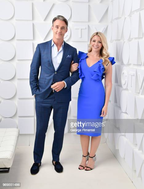Ben Mulroney and Danielle Graham pose at the CTV Upfronts portrait studio held at the Sony Centre For Performing Arts on June 7 2018 in Toronto Canada