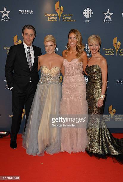Ben Mulroney Cheryl Hickey Dina Pugliese and Heather Hiscox arrive at the Canadian Screen Awards at Sony Centre for the Performing Arts on March 9...