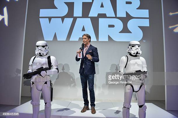 Ben Mulroney speaks during the Star Wars Presentation during World MasterCard Fashion Week Spring 2016 at David Pecaut Square on October 21 2015 in...