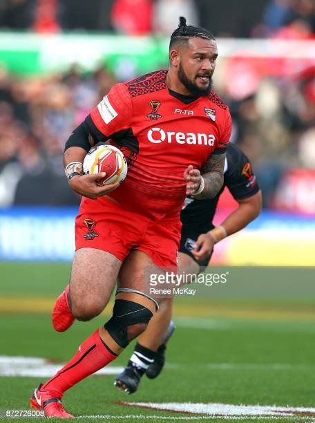 Ben Murdoch Masila in action for Tonga during the 2017 Rugby League World Cup match between the New Zealand Kiwis and Tonga at Waikato Stadium on...