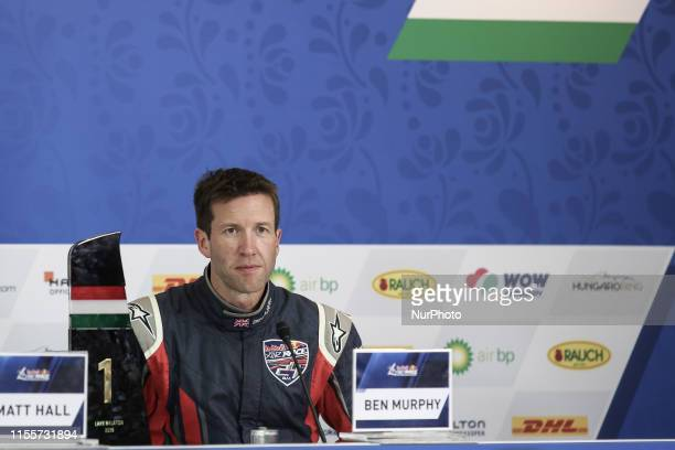 Ben Murphy of Great Britain Masters class second place attends press conference after Red Bull Air Race World Championship at Lake Balaton Zamardi...