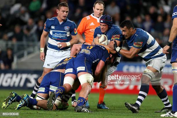 Ben Nee-Nee of Auckland is tackled by Sione Teu of Otago during the round six Mitre 10 Cup match between Otago and Auckland at Forsyth Barr Stadium...