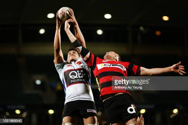 Ben NeeNee of North Harbour competes at the lineout against Mitchell Dunshea of Canterbury during the round five Mitre 10 Cup match between North...