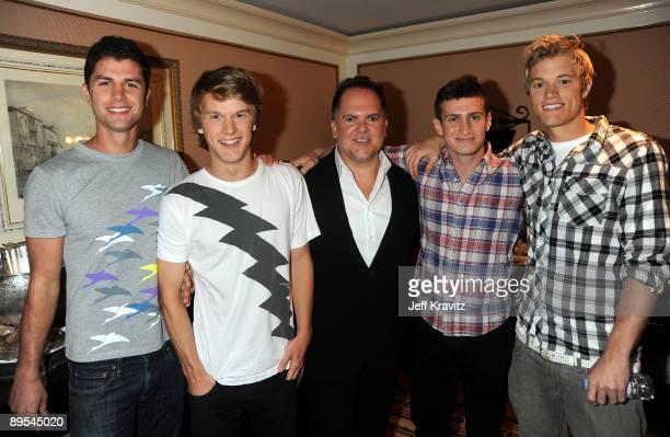 "Ben Nemtin, Jonnie Penn, president of MTV programming Tony DiSanto, Dave Lingwood, and Duncan Penn of ""The Buried Life"" pose during the MTV Networks..."